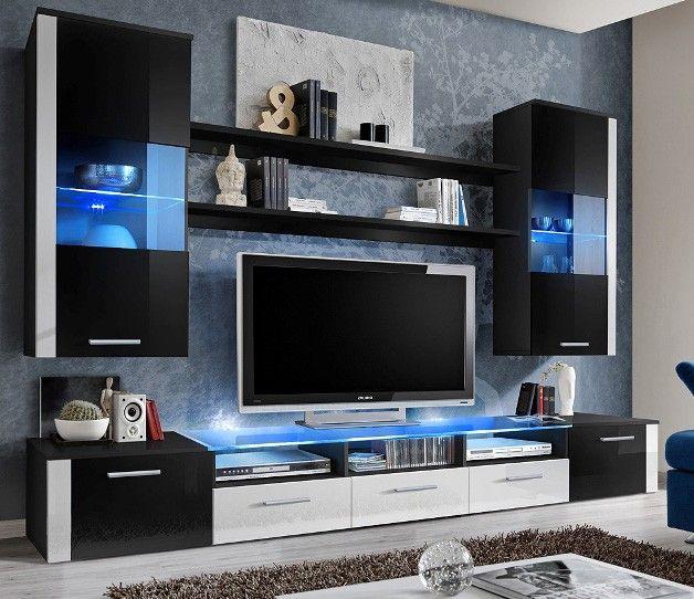 White Tv Cabinet Living Room Furniture: Black / White High Gloss Entertainment Center In