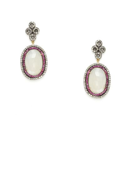 Diamond, Ruby, & Moonstone Oval Earrings by Karma Jewels on Gilt.com
