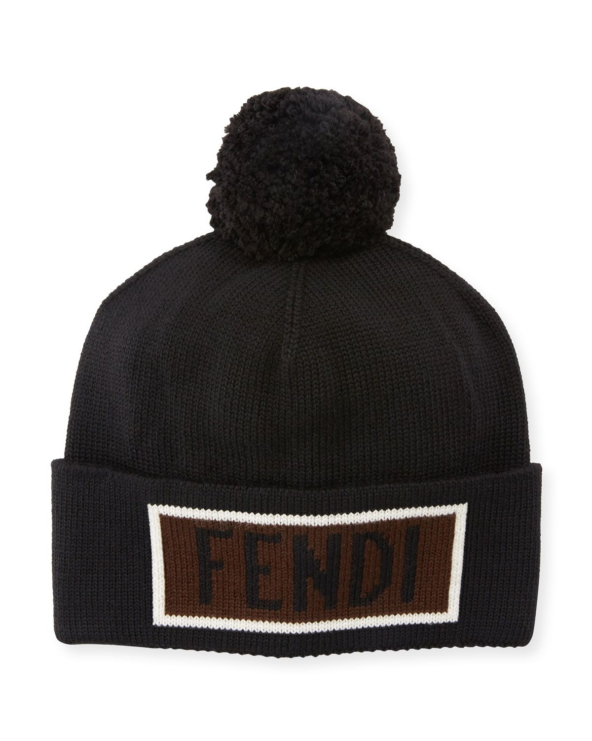 f0f0b08be61 FENDI MEN S VOCABULARY POMPOM BEANIE HAT.  fendi
