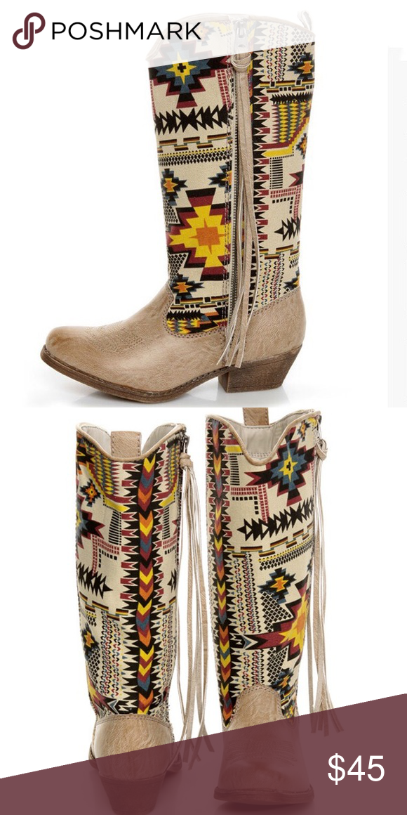 0b38854949d Fringed Aztec Southwest Print Cowboy Boots VEGAN The Big Buddha ...
