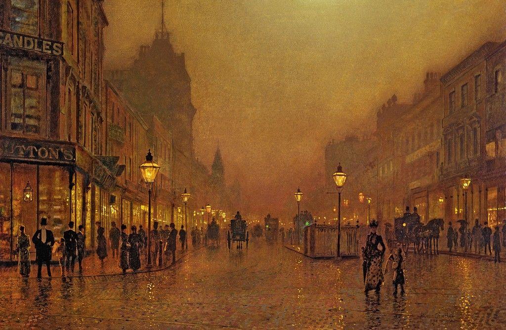"John Atkinson Grimshaw's ""A Street at Night"""