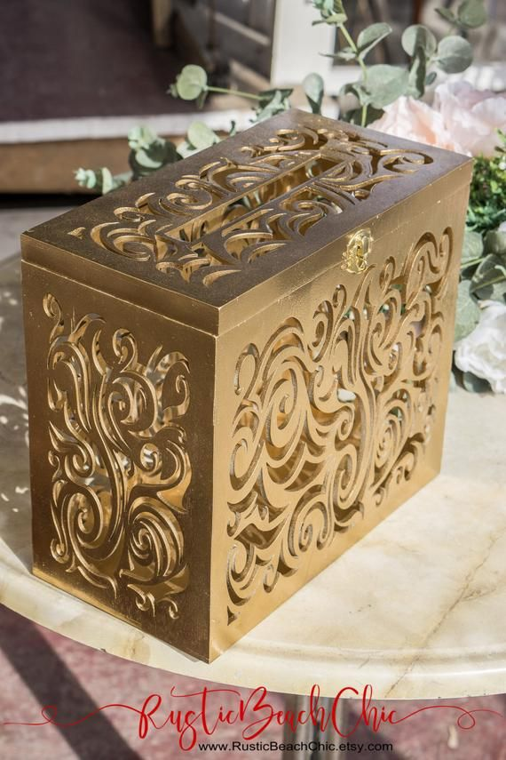 this gold wedding card box with lock  slot wedding décor