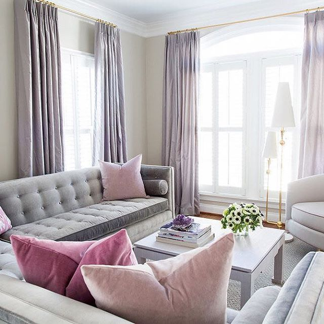 Room Reveal Purple And Grey Living Room: Love The Feminine Color Palette That Dominates This Living