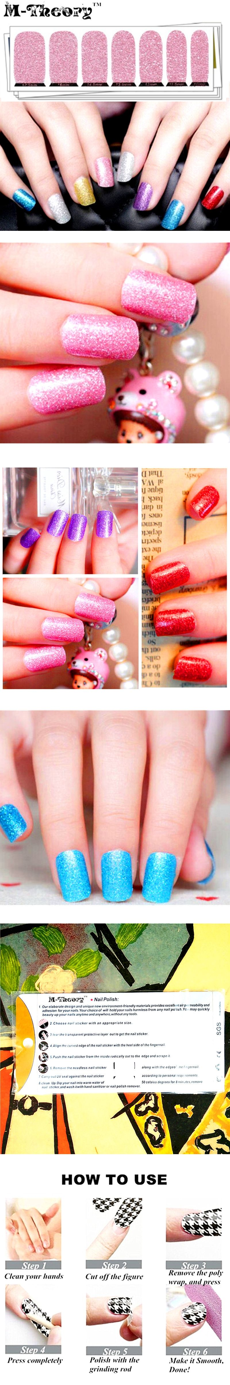 Twinkle Glossy Nails Wraps, 6 Colors Sparkle Nails Art Stickers ...