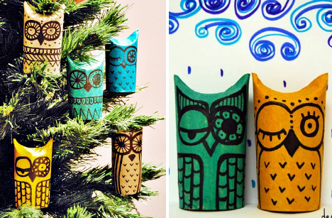 kids art & crafts owl themed toilet paper roll owls- neat xmas decoration idea
