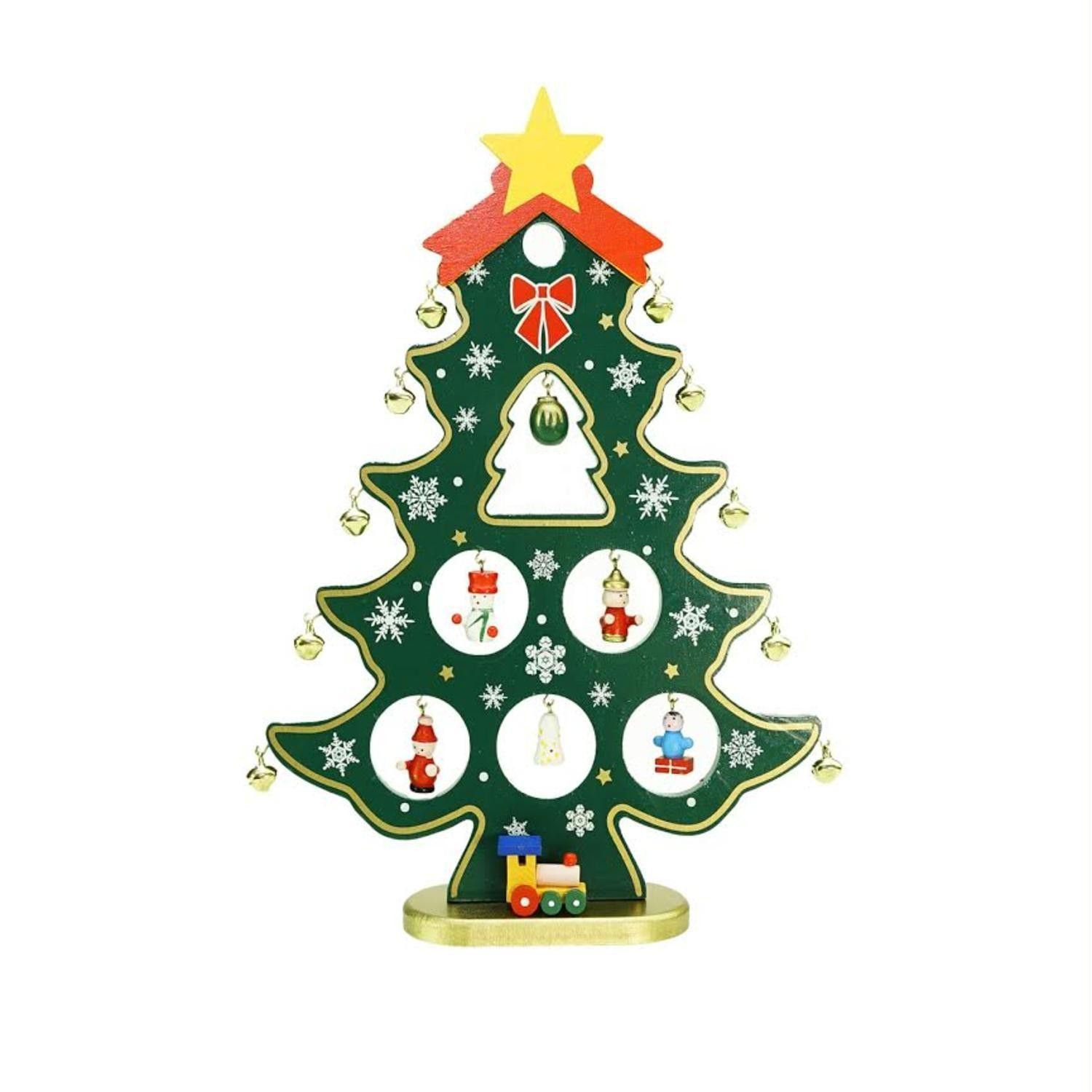 1125 wooden christmas tree cut out with miniature ornaments table top decoration