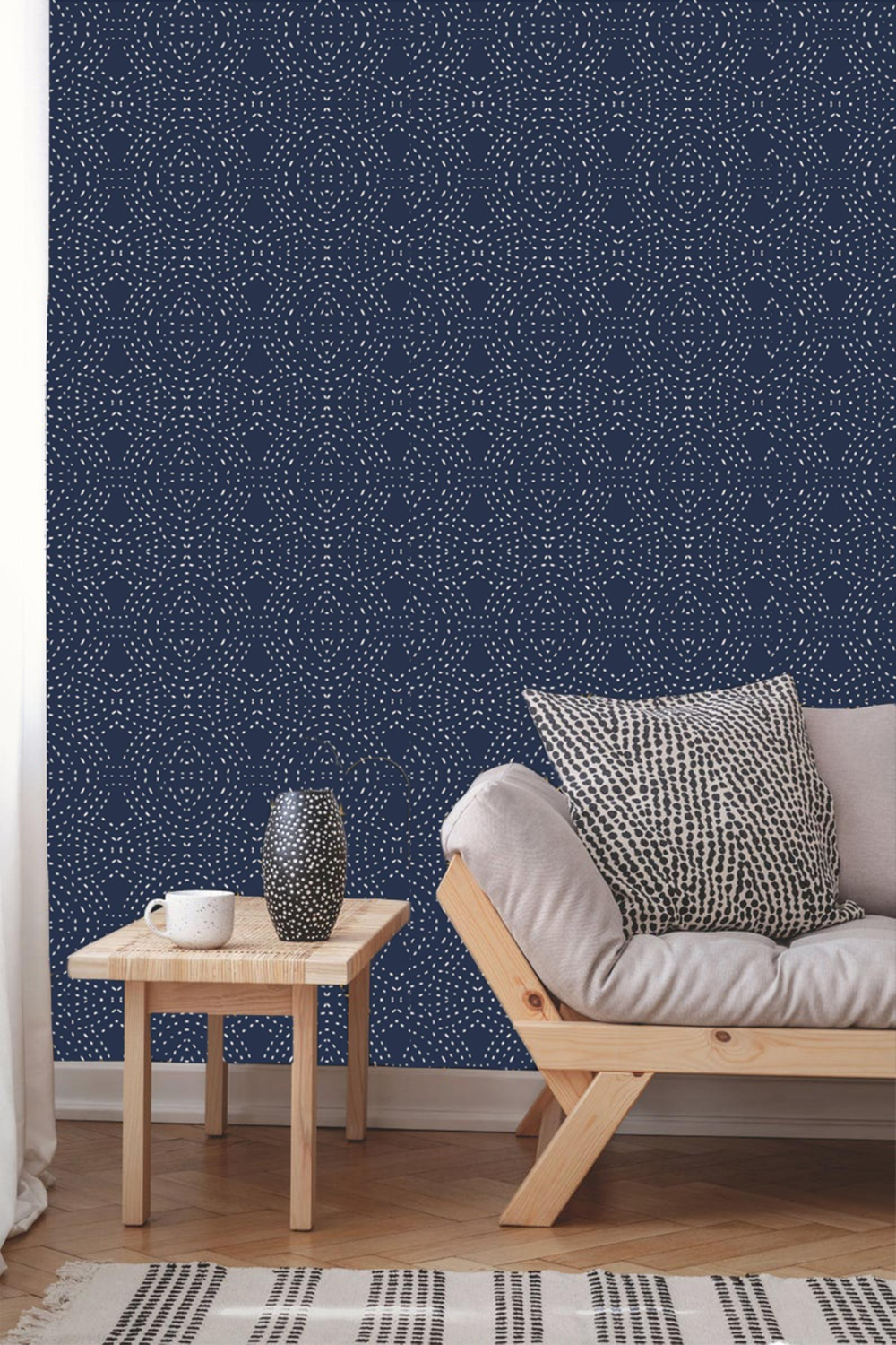 Navy Bohemian Abstract Wallpaper Removable Traditional