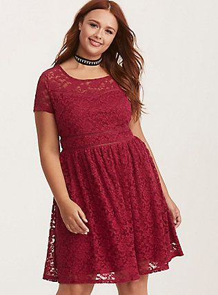 Berry Red Lace Scoop Skater Dress, VELVET ROSE (With images