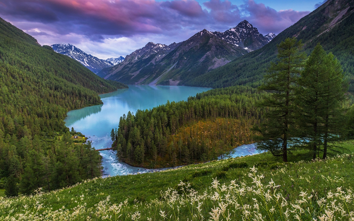 Download Wallpapers Mountain River Evening Sunset Mountain Landscape Forest Usa North America Mountain Landscape Mountains River Photography
