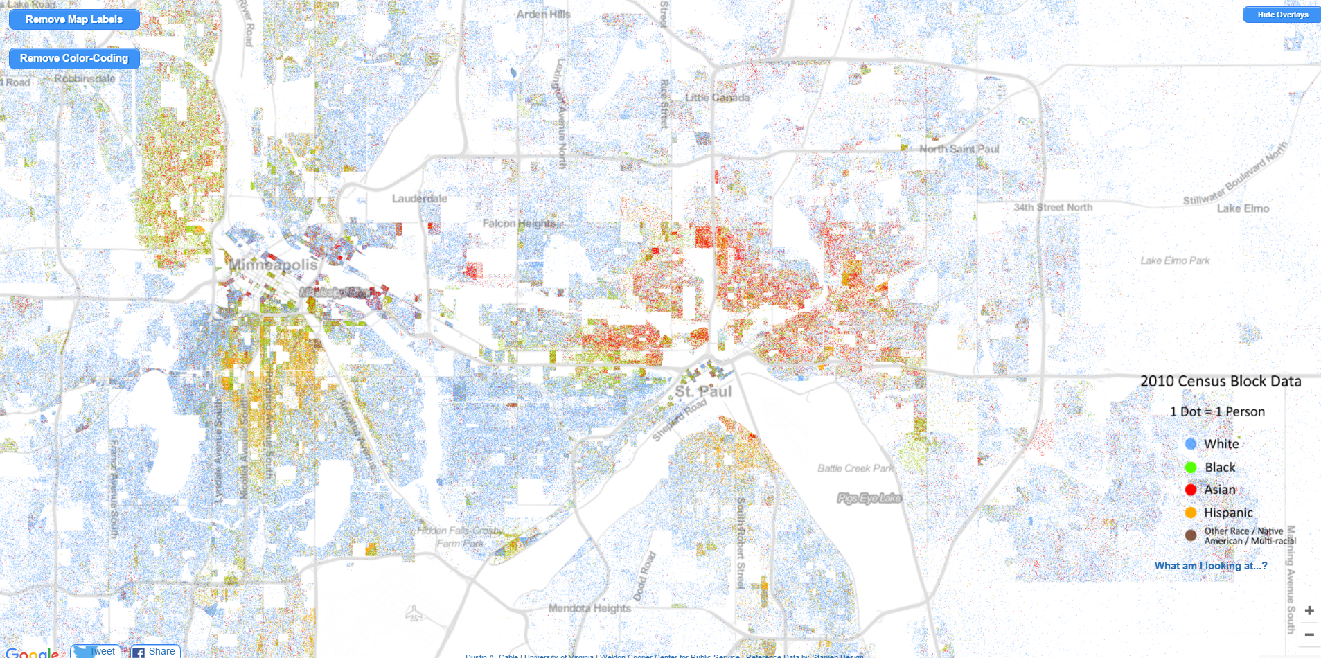 Where the races live in Minneapolis/St. Paul, MN, USA. | MAPS ...