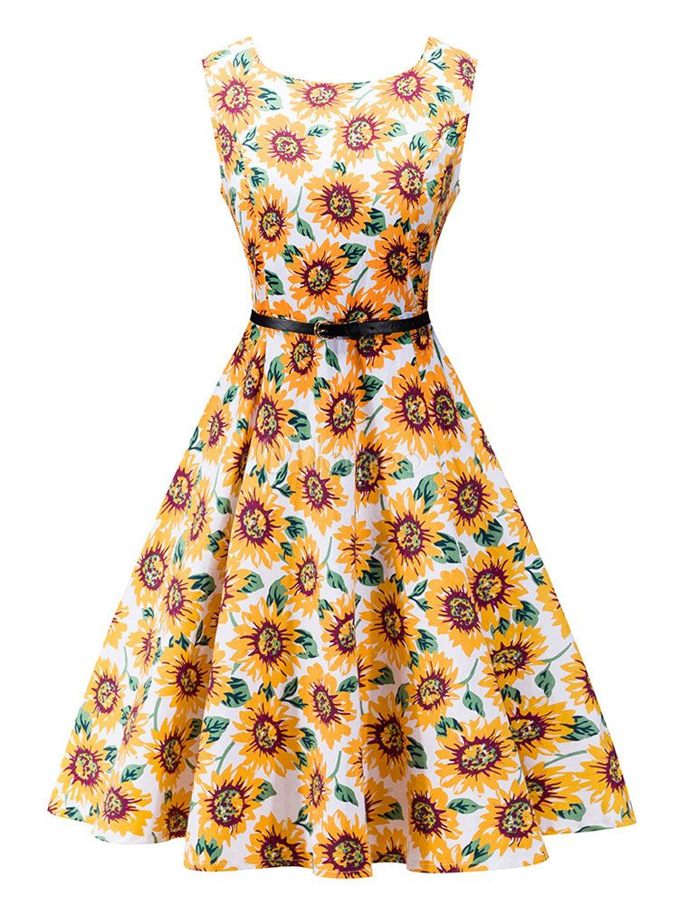 0652f0a3e25b Floral Vintage Dress Yellow Women's Round Neck Sleeveless Sunflowers  Printed Flare Retro Dress