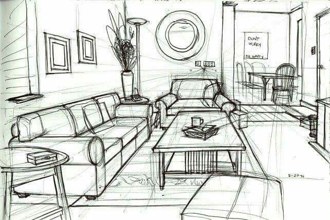 One Point Perspective Drawing Of A Living Room Gallery