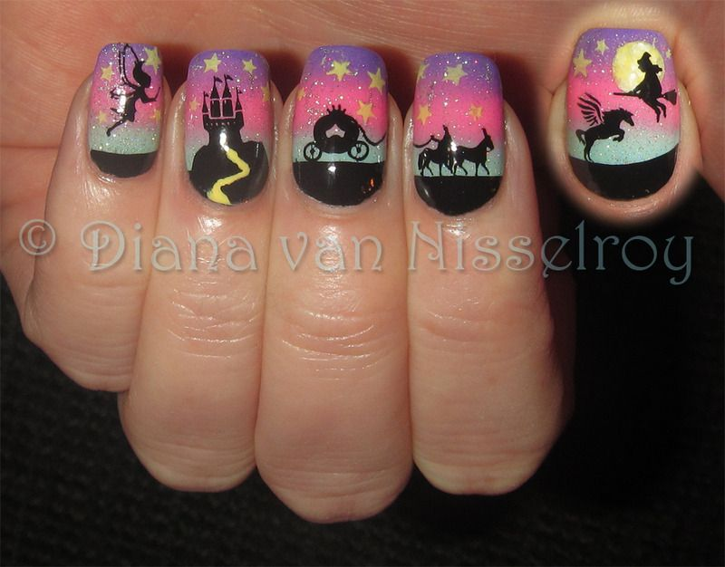 normally wouldn\'t go for fairy tale characters on my nails ...