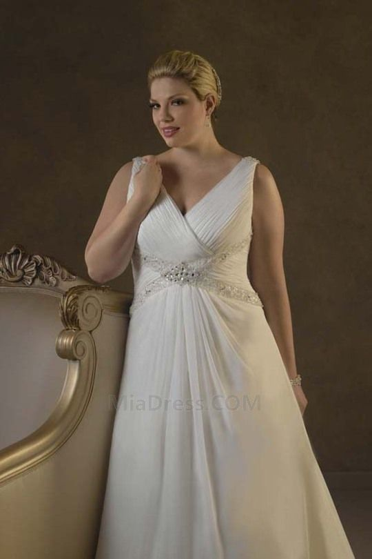 Traîne Moyenne Col en V Robe de Mariée Déesse Jardin/En Plein Air Robe de Mariée