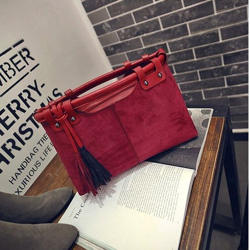 2016 Hot Sale Leather Women Handbags Fashion Office Lady Tassel Tote Bags Top-Handle Bag Shoulder Bags Womens Handbag