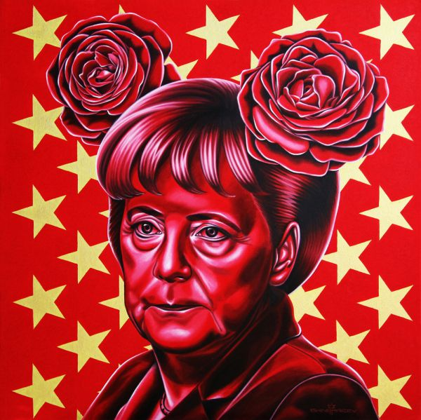 Pop Culture painting: Angela Merkel by Rinat Shingareev