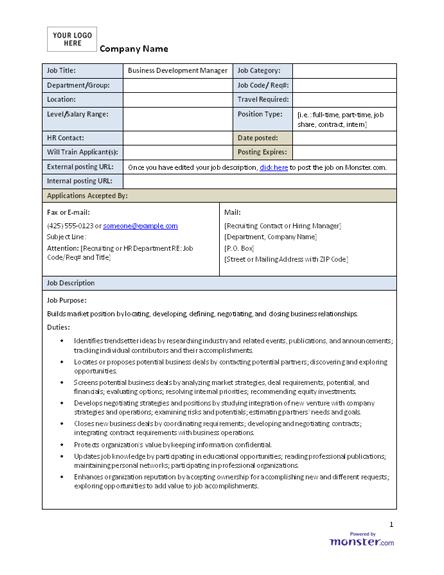 This Business Development Manager Sample Job Description Can Assist In Your Creating A Job Description Template Office Manager Job Description Job Description