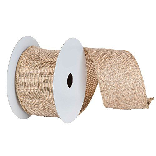 """2 Natural Tan and Gold Mesh Solid Wired Christmas Craft Ribbon 2.5"""" x 10 Yards -- Details can be found by clicking on the image."""