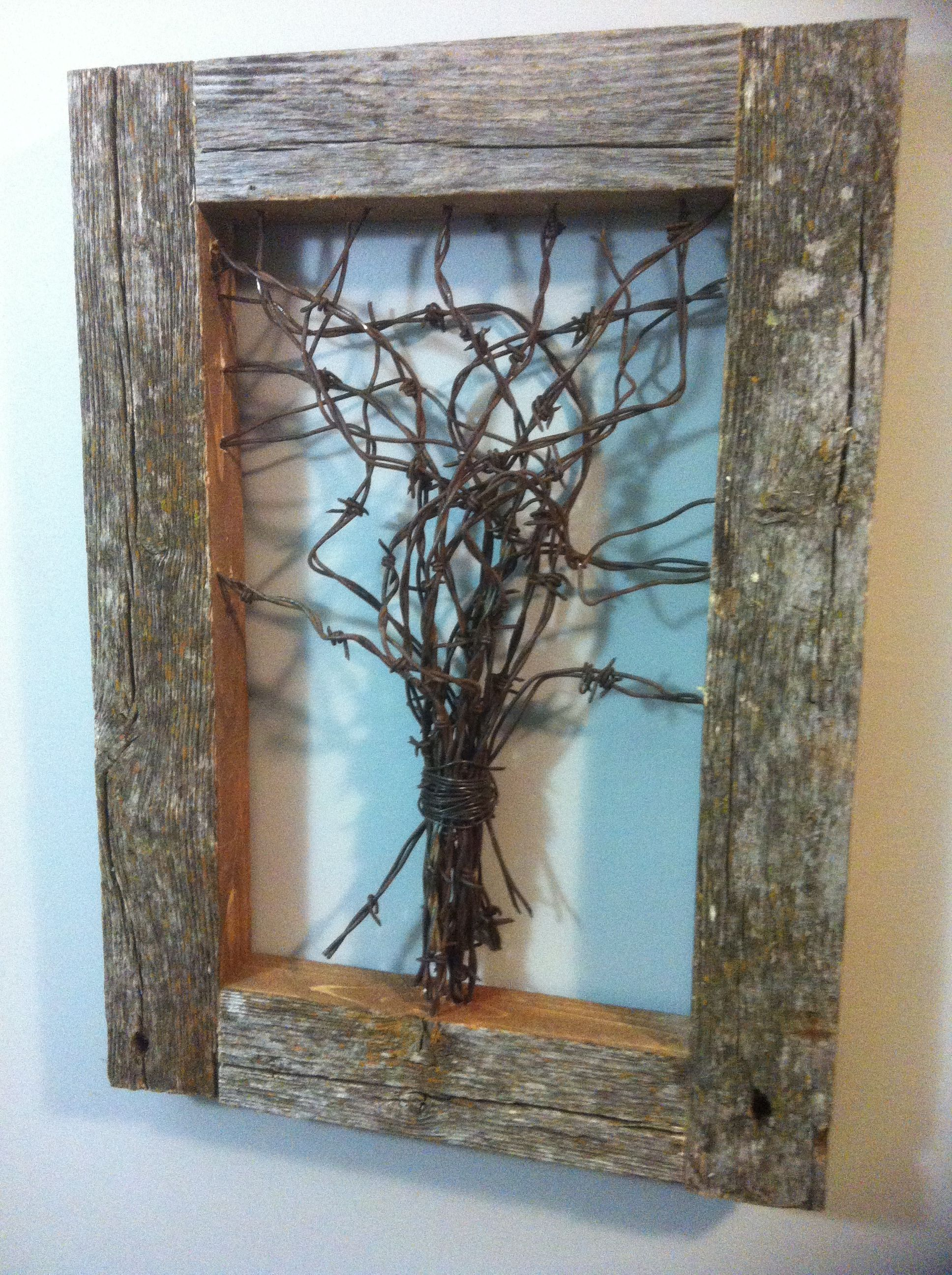 reclaimed barbed wire frame | forest wood | Pinterest | Barn wood ...