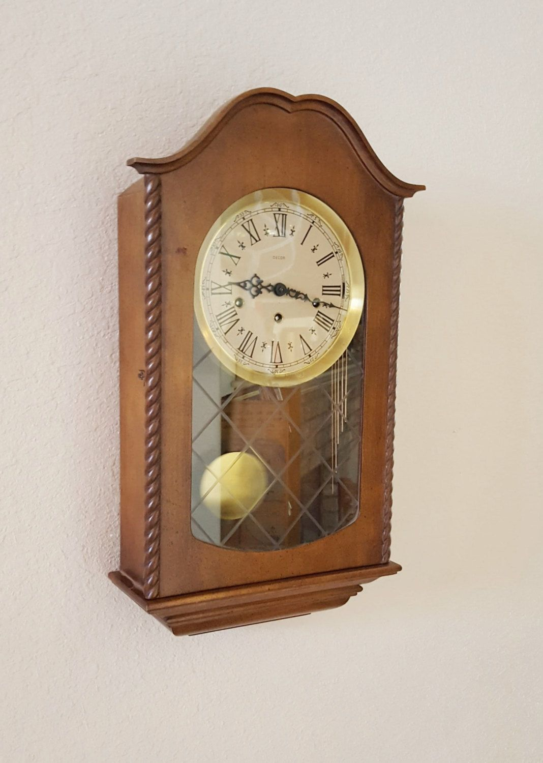 Restored Vintage Antique Imported Germany Heirloom Quality Decor Brand Westminster Chiming Wall Clock Warranty By The Wall Clock Clock Chiming Wall Clocks