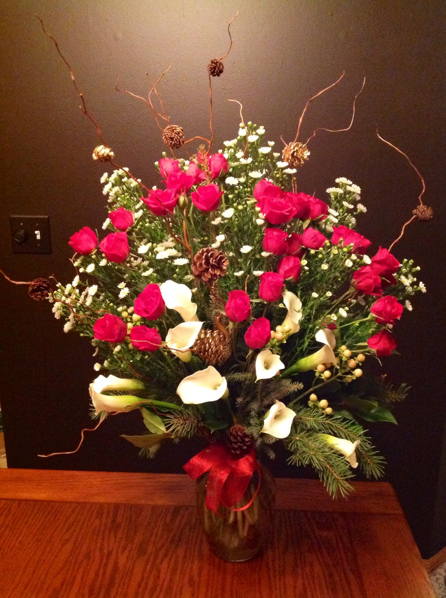 WINTER Anniversary Arrangement made with White Calla Lilies, Roses, Curly Willow & More!