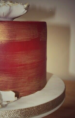 Red and gold chocolate cake