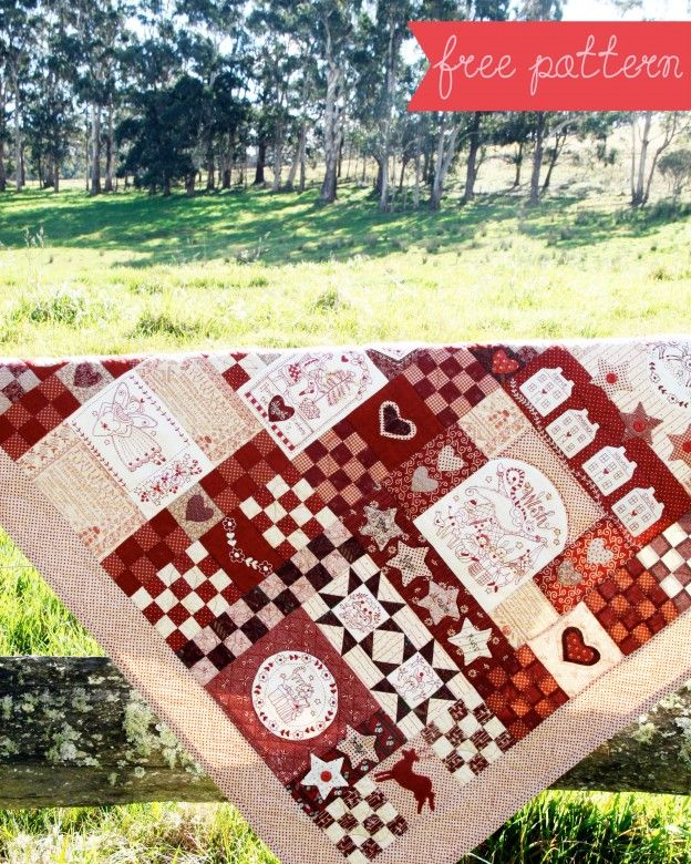 red-brolly.com Christmas Wish Quilt free pattern | Embroidery ... : red brolly wish quilt - Adamdwight.com