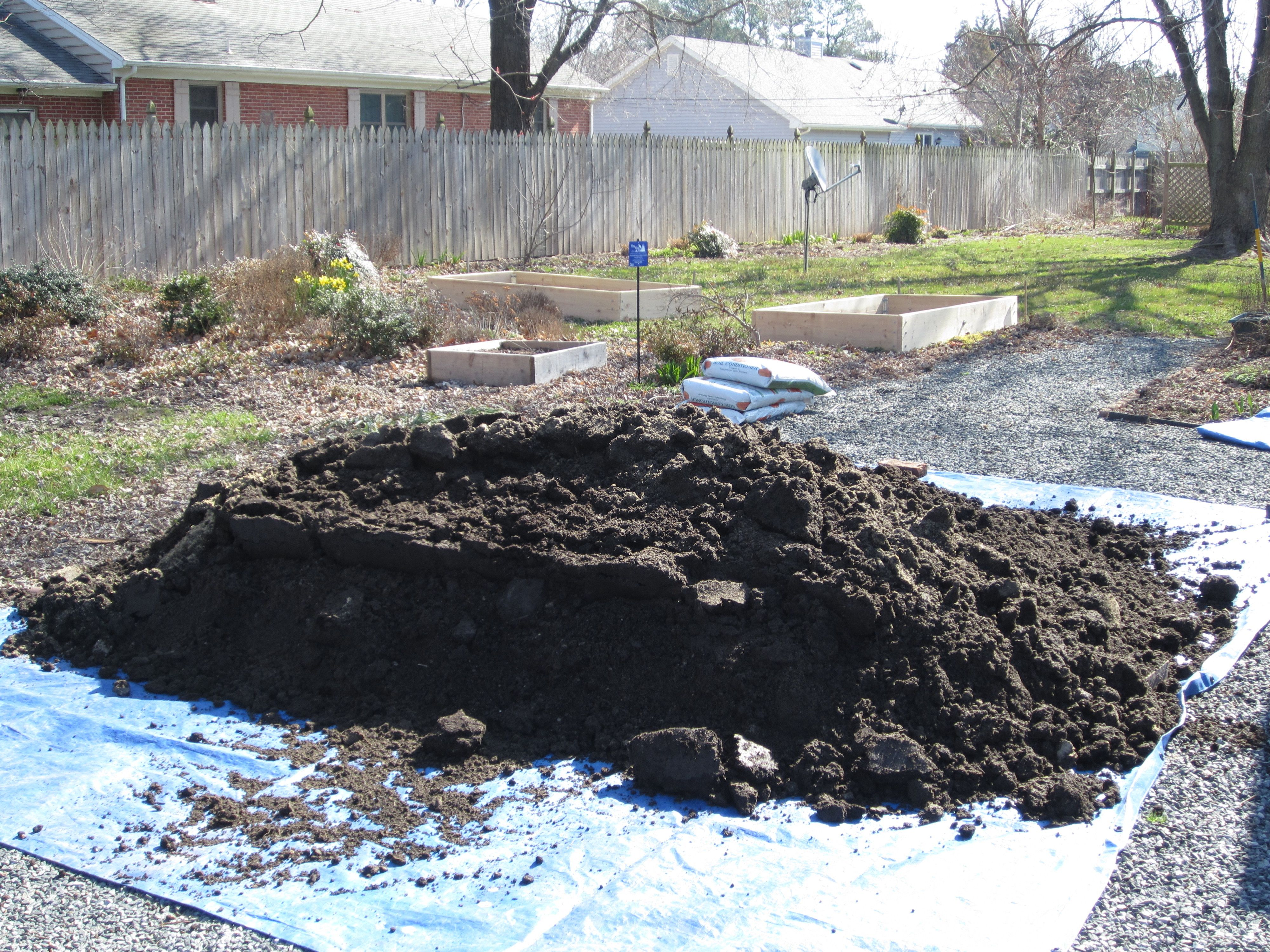 3 cubic yards of soil mix 1 2 top soil 1 4 leafgro and 1 for Backyard soil