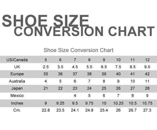 Please also keep in mind the manufacturers use different lasts to construct their shoes, and sizing may vary accordingly. Make sure you are standing, wearing the socks or stockings you will wear with your new shoes. Using one of the following charts, convert your inches .