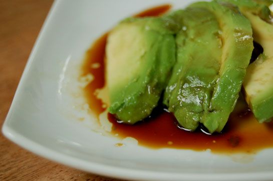 Simple Avocado & (low sodium) Soy Sauce. Add sesame seeds or oil and pepper. Perfect side.