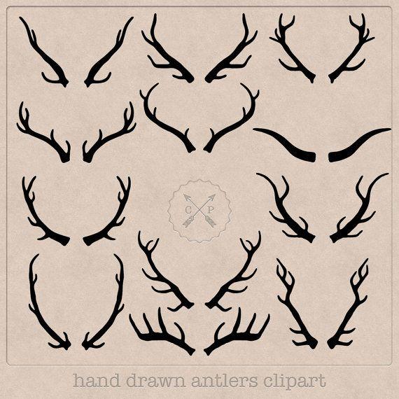12 hand drawn black antler clip art files on transparent ...