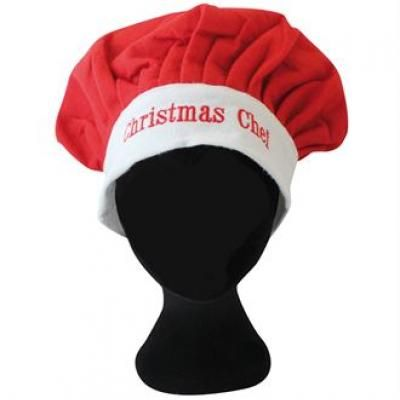 Image of Printed Christmas Chef Hat. Promotional Adults Xmas Cooks Hat