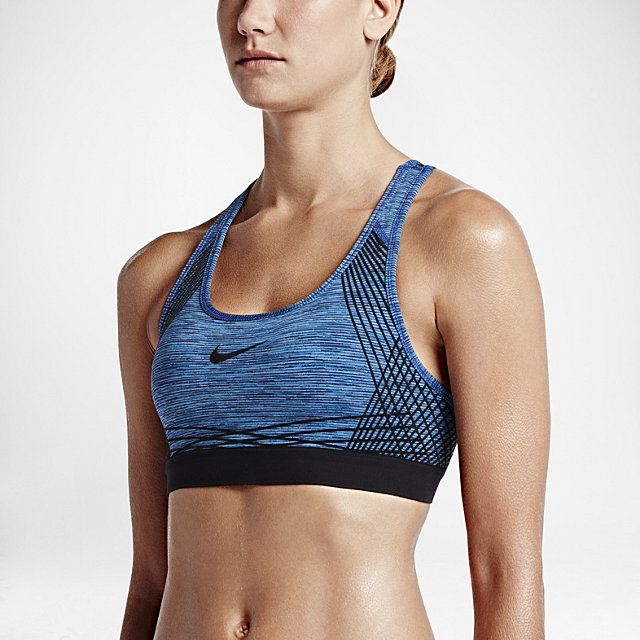 8399cec2a9 Nike Pro Hyper Classic Padded Women s Sports Bra. Light Photo Blue Chalk  Blue Black Black. Size S
