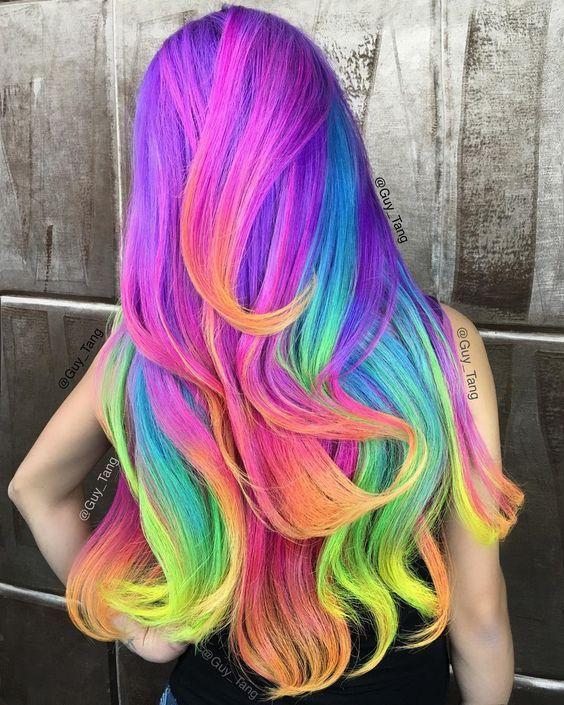 bright hair colors on pinterest bright hair rainbow hair and neon unicorn rainbow hair color inspiration haarfarbe