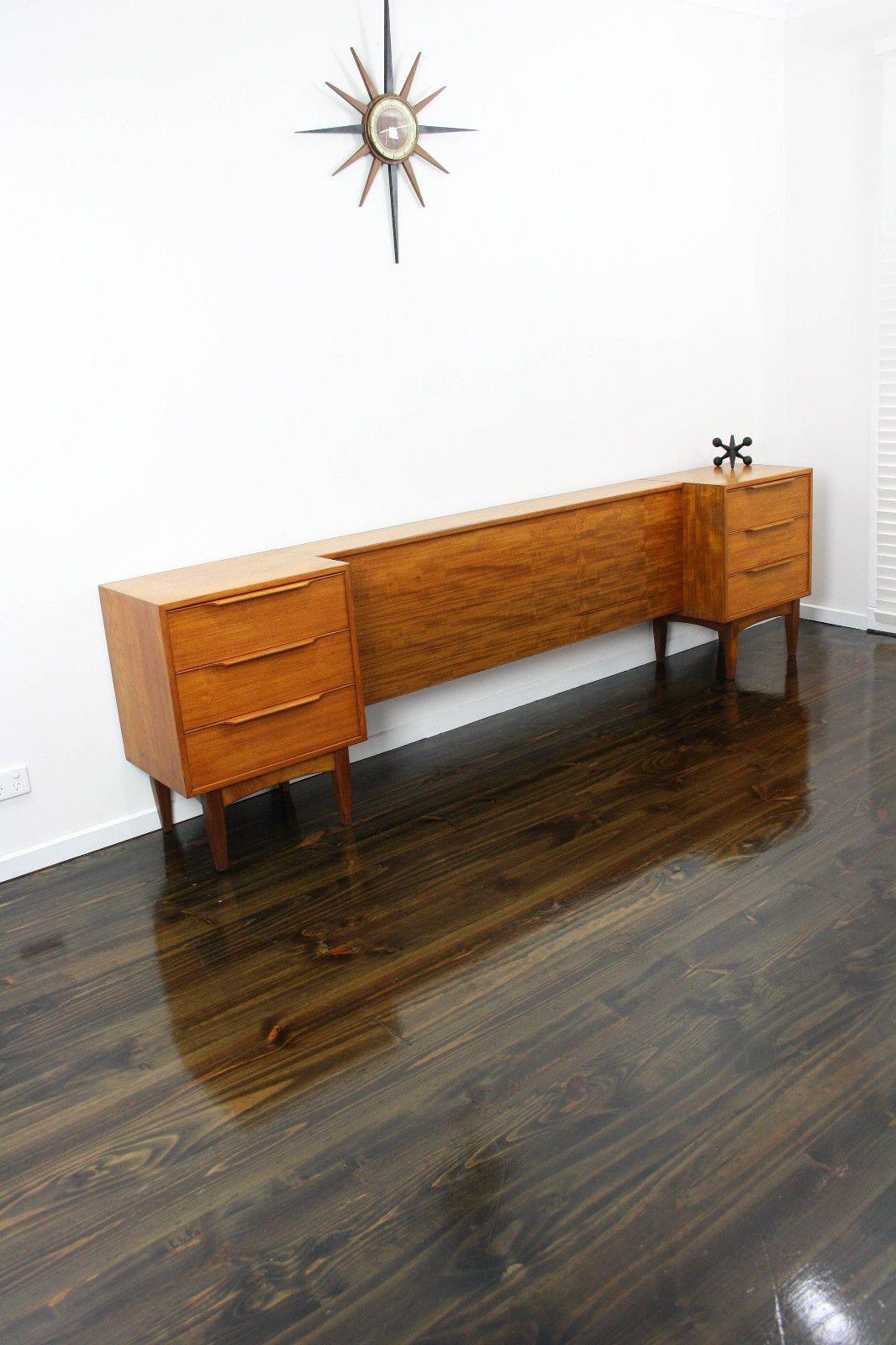 Mid Century Hans Hayson Bedside Tables Drawers Bedhead Retro