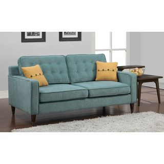 aqua sofa paula deen lillian with chaise jackie french yellow button pillow overstock com shopping the best deals on sofas loveseats