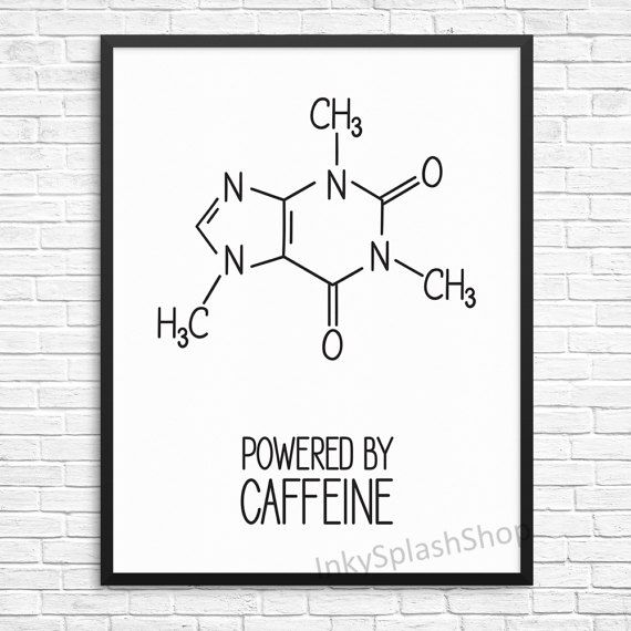Coffee Print Powered By Caffeine Quote Typography Kitchen Decor