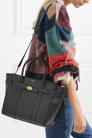 e8e085865c Mulberry - The Bayswater Zipped Small Textured-leather Tote - Black ...