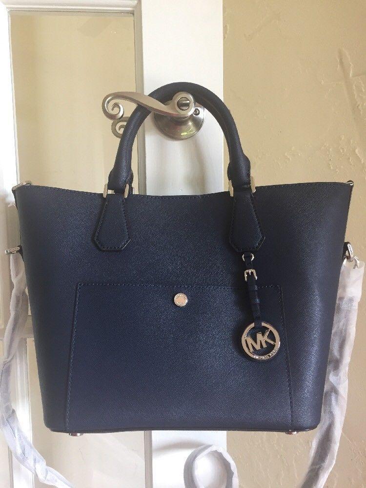 12c4ef0982e2 Michael Kors Greenwich Saffiano Leather Large Grab Bag Crossbody Navy Blue   MichaelKors  Satchel