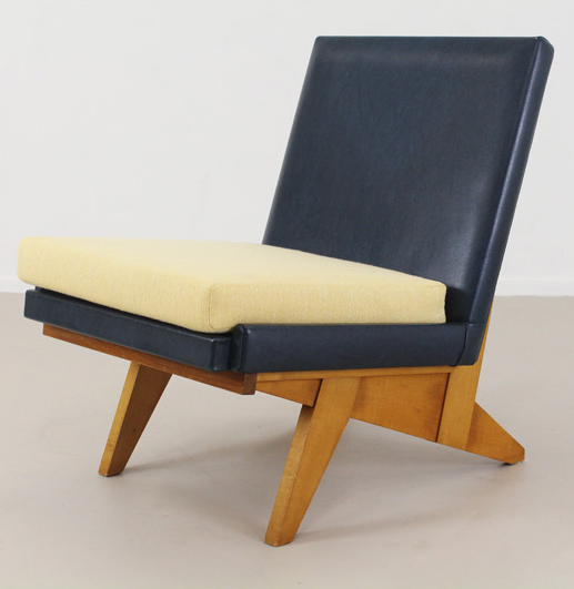 Anonymous; Wood and Skai Lounge Chair, 1950s.
