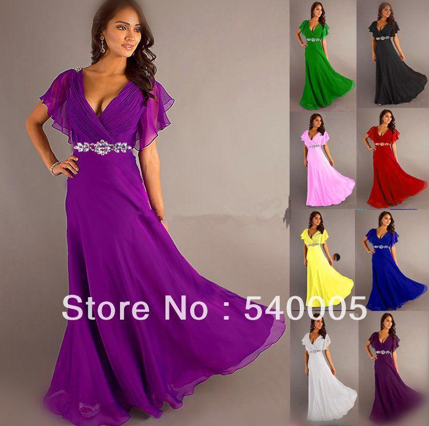pretty girl V neck wiht sleeve purple grey royal blue elegant party ...