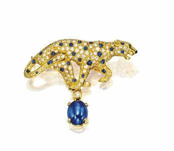 SAPPHIRE AND DIAMOND 'PANTHER' BROOCH, CARTIER