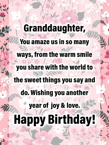 Joy Love Happy Birthday Cards For Granddaughter Birthday Greeting Cards By Davia Birthday Verses For Cards Happy Birthday Wishes Cards Birthday Verses