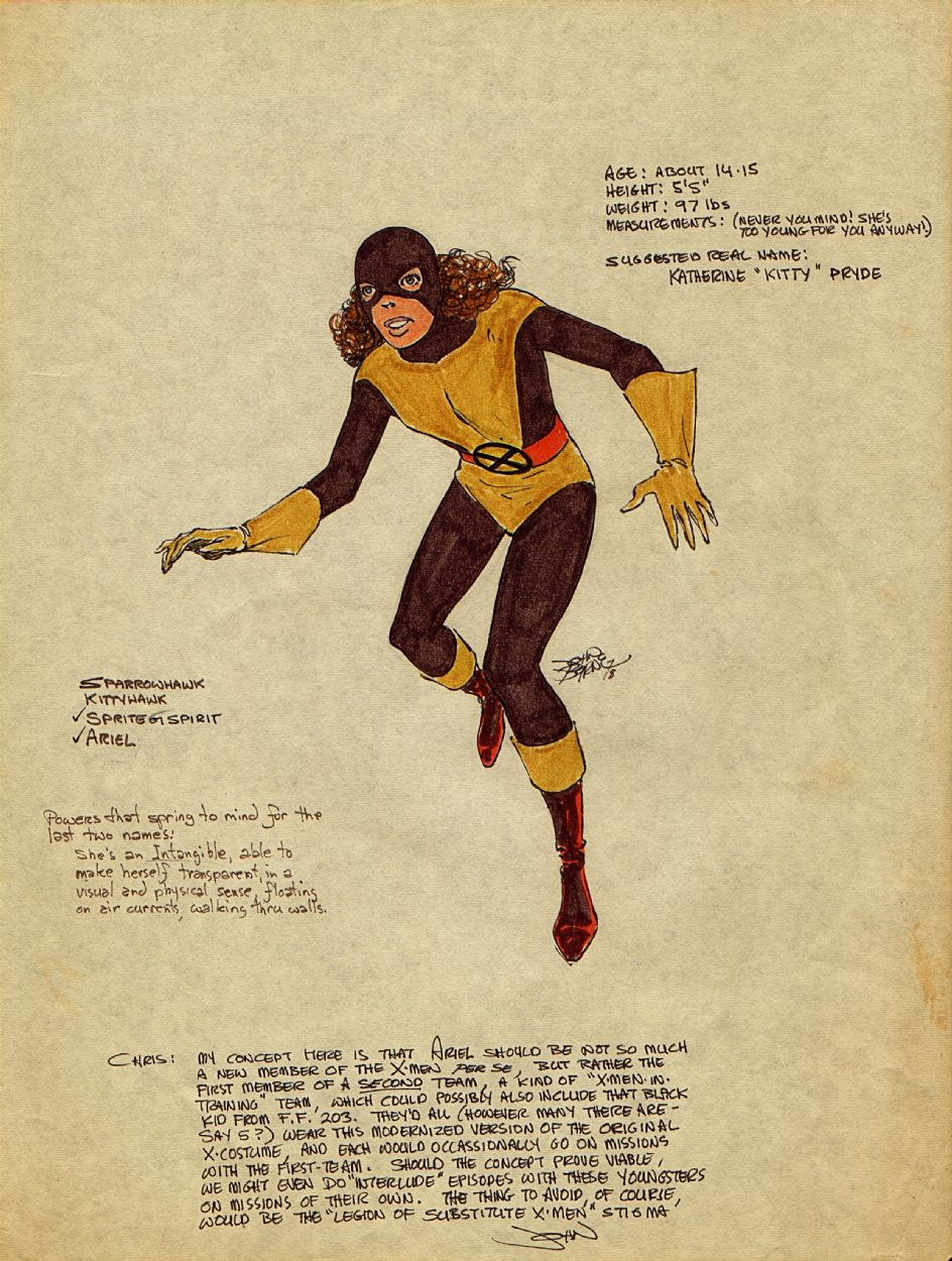 """1978, JOHN BYRNE'S LETTER TO CHRIS CLAREMONT, CONCEPTUAL ART/IDEA FOR UNCANNY X-MEN KITTY PRYDE (SHADOWCAT), NEW MUTANTS, AND THE """"MODERNIZED X-COSTUME,"""" PUBLISHED IN MARVEL MASTERWORKS: THE UNCANNY X-MEN, VOL. #4, TPB 2012, (11 X 14 IN)"""