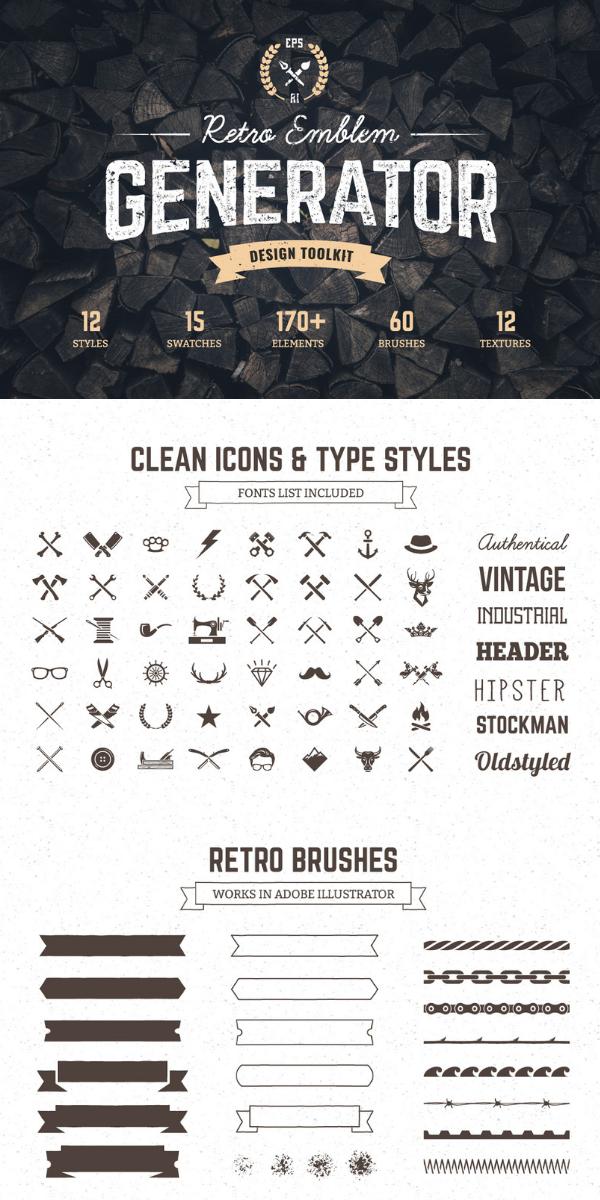 Logo Maker | Retro Emblem Generator | Graphic Design and Digital