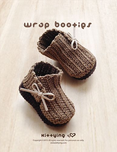 Wrap Baby Booties pattern by Kittying Ying | Babyschühchen, Häckeln ...