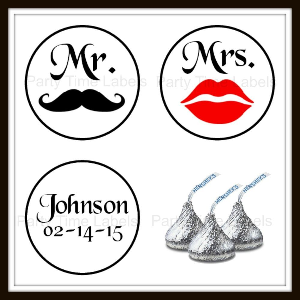 Custom MR MRS Lips Mustache Personalized KISS Labels Wedding Favor ...