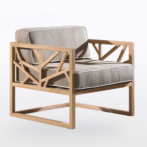 Fauteuil En Chene Massif Et Coussins La Galerie Du Teck Mobilier De Salon Fauteuil Bois Mobilier Design