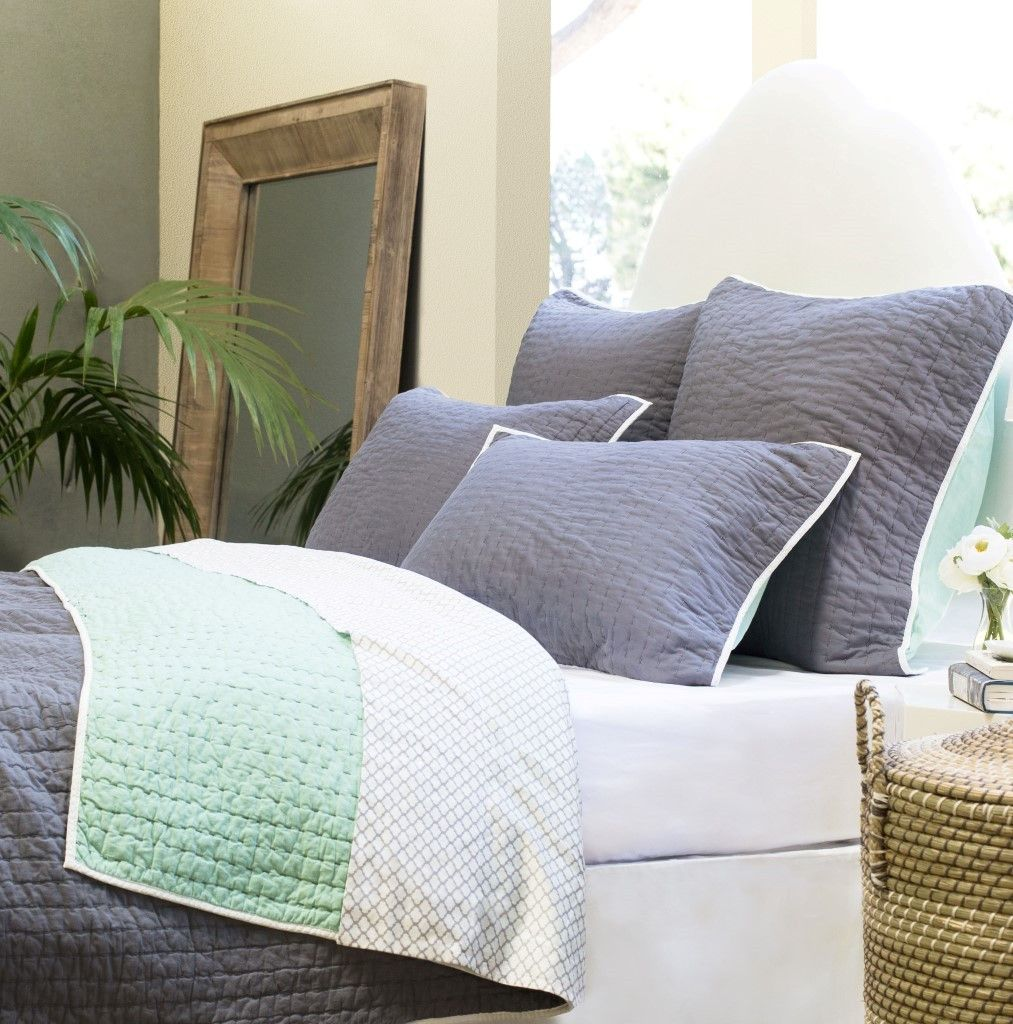 Bedroom inspiration and bedding decor   The Reversible Pick-Stitch Charcoal Grey Quilt u0026 Sham & The Reversible Pick-Stitch Charcoal Grey Quilt u0026 Sham   Pick ...