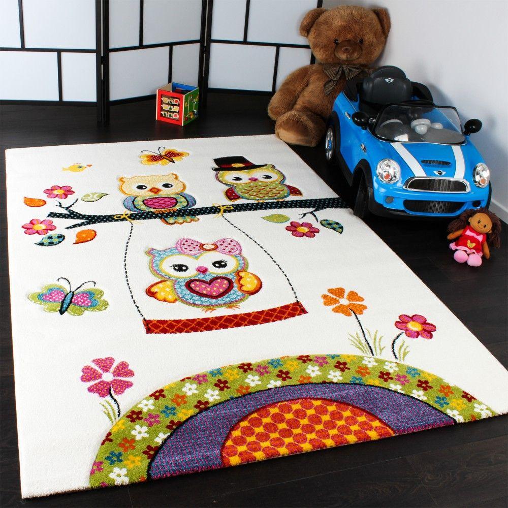 Luxury Kinder Teppiche Spielende Eulen Teppiche f r Kinderzimmer in Creme Gr n Lila Kinderteppiche